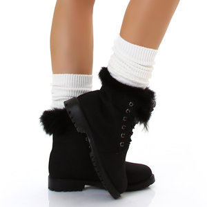 Sexy Furry Boots S172 in Zwart