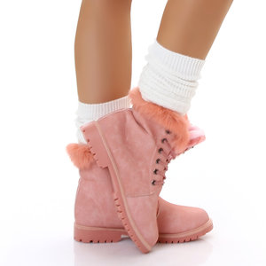Sexy Furry Boots S172 in Roze