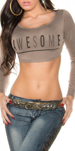 "Sexy ""Awesome"" Crop Jumper in Cappuccino"