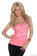 Sexy bandeau top met opdruk in roze