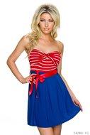 Sexy strapless mini jurk van Italy Moda in rood-blauw