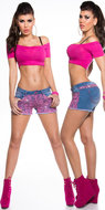 Sexy Koucla Jeans Shorts met Kant en Strass in Fuschia