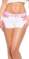 Sexy Witte Koucla Jeans Shorts met Kant in Fuschia