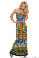 Sexy strapless maxi jurk van Miss 83 in blauw-rood