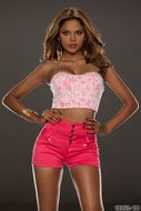 Sexy Crop Top Style Rack in Roze