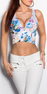 Sexy KouCla croptop met bloemenprint in wit