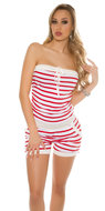 Sexy Bandeau Jumpsuit Gestreept in Rood